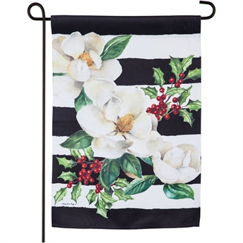 Evergreen Holiday Magnolias Suede Garden Flag