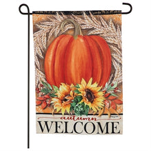 Load image into Gallery viewer, Evergreen Festive Autumn Suede Garden Flag