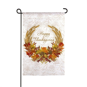 Evergreen Autumn Wheat Suede Garden Flag