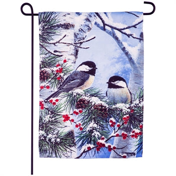 Evergreen Winter Chickadee Friends Suede Garden Flag