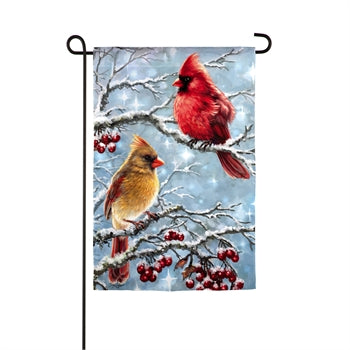 Evergreen Winter Cardinals Suede Garden Flag