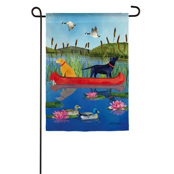Evergreen Lake Life Labs Suede Garden Flag