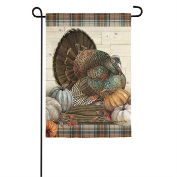 Evergreen Pumpkin Time Turkey Suede Garden Flag