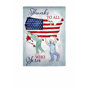 Evergreen Thanks to All Who Serve Suede Garden Flag