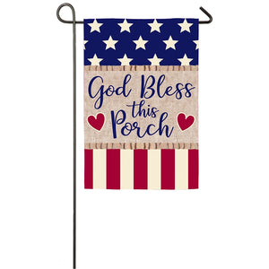Evergreen God Bless this Porch Garden Burlap Flag