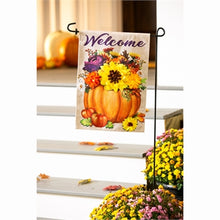 Load image into Gallery viewer, Evergreen Floral Pumpkin Burlap Garden Flag