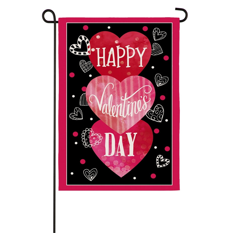 EVERGREEN VALENTINE'S HEART TRIO BURLAP GARDEN FLAG