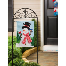 Load image into Gallery viewer, Evergreen Snowman and Bird Friends Burlap Garden Flag