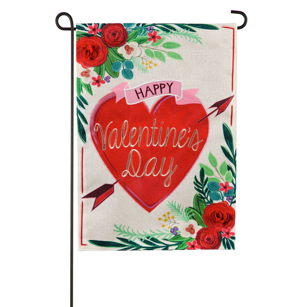 Evergreen Valentine's Day Floral Burlap Garden Flag