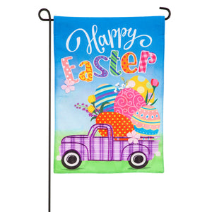 Evergreen Easter Plaid Truck Burlap Garden Flag