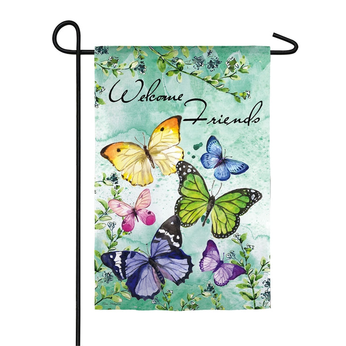 EVERGREEN BUTTERFLY FRIENDS TEXTURED SUEDE GARDEN FLAG