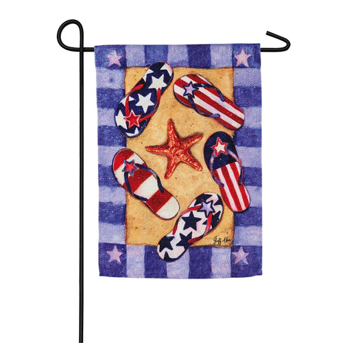 EVERGREEN PATRIOTIC FLIP FLOP GARDEN FLAG