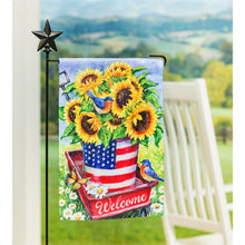 Load image into Gallery viewer, EVERGREEN PATRIOTIC SUNFLOWER GARDEN FLAG