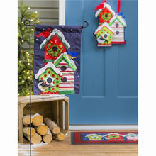 Load image into Gallery viewer, Evergreen Holiday Cheer Birdhouse Trio Linen Garden Flag