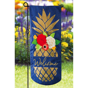 EVERGREEN PINEAPPLE WELCOME XL GARDEN FLAG