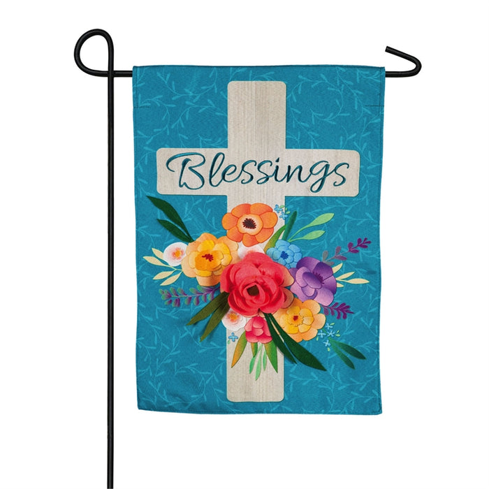 EVERGREEN BLESSINGS FLORAL GARDEN FLAG
