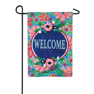 EVERGREEN FLOWER WELCOME GARDEN FLAG