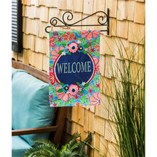 Load image into Gallery viewer, EVERGREEN FLOWER WELCOME GARDEN FLAG