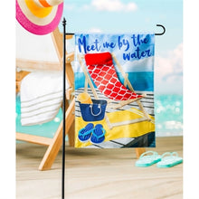 Load image into Gallery viewer, Evergreen Meet Me by the Water Linen Garden Flag