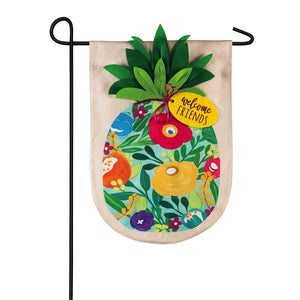 EVERGREEN FLORAL PINEAPPLE LINEN GARDEN FLAG