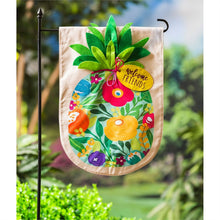 Load image into Gallery viewer, EVERGREEN FLORAL PINEAPPLE LINEN GARDEN FLAG