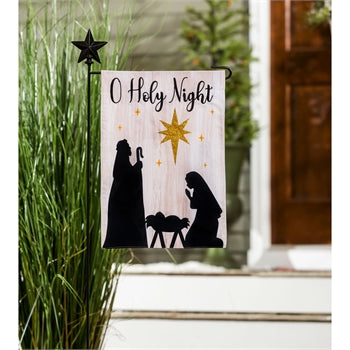 Evergreen Nativity Silhouette Linen Garden Flag