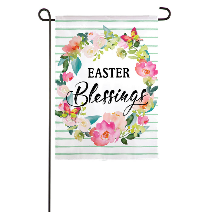 Evergreen Easter Blessings Wreath Linen Garden Flag