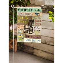 Load image into Gallery viewer, EVERGREEN PORCH RULES SUEDE GARDEN FLAG