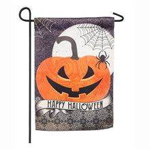 Load image into Gallery viewer, Evergreen Happy Halloween Suede Garden Flag