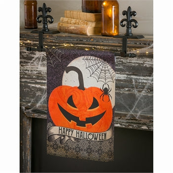 Evergreen Happy Halloween Suede Garden Flag