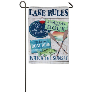 EVERGREEN LAKE RULES GARDEN FLAG