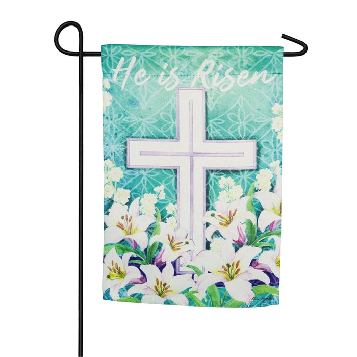 EVERGREEN EASTER CROSS GARDEN FLAG