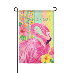 Evergreen Boho Flamingo Suede Garden Flag