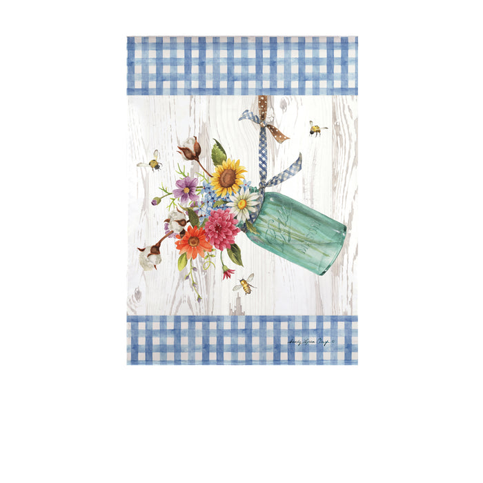 Evergreen Indigo Farm Bouquet Suede Garden Flag