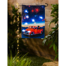Load image into Gallery viewer, EVERGREEN FESTIVE FIREWORK LED GARDEN FLAG