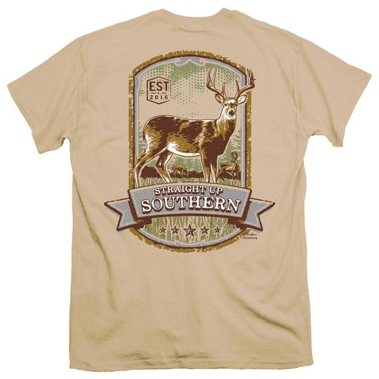 STRAIGHT UP SOUTHERN DEER PANEL SHORT SLEEVE T-SHIRT