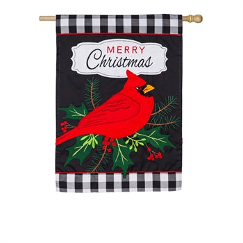 Evergreen Merry Christmas Cardinal Applique House Flag