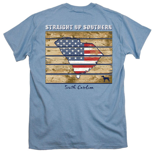 Straight Up Southern Patriotic Wood South Carolina T-shirt
