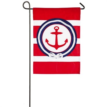 EVERGREEN ANCHOR STRIPE GARDEN FLAG