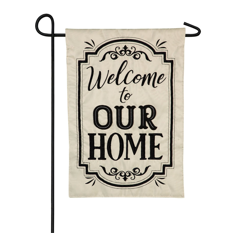 EVERGREEN WELCOME TO OUR HOME APPLIQUE GARDEN FLAG