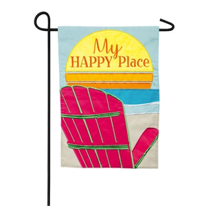 Evergreen My Happy Place Adirondack Applique Garden Flag