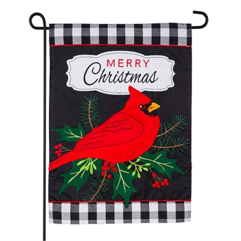 Evergreen Merry Christmas Cardinal Applique Garden Flag