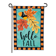 Load image into Gallery viewer, Evergreen Hello Fall Leaves Applique Garden Flag