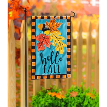 Evergreen Hello Fall Leaves Applique Garden Flag