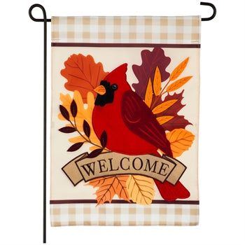 Evergreen Autumn Cardinal Applique Garden Flag