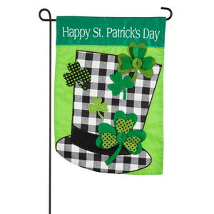 Evergreen Plaid St. Patrick's Day Hat Applique Garden Flag