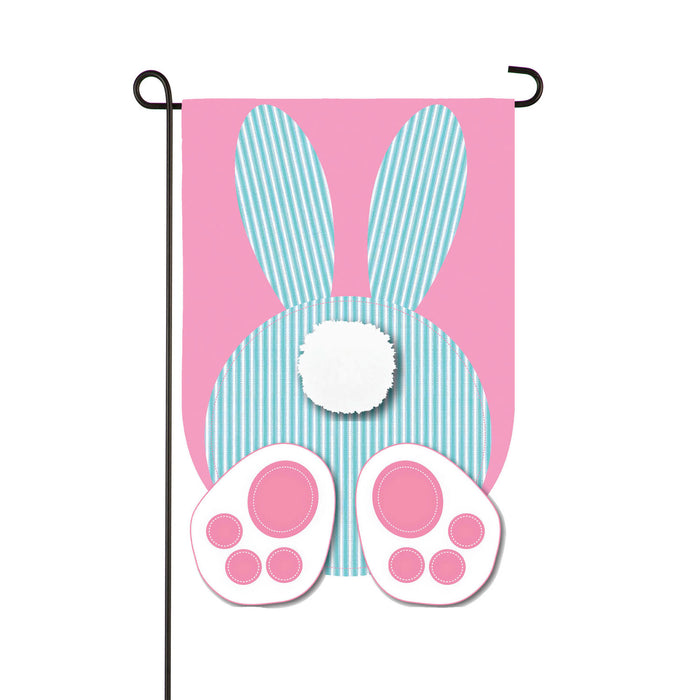 Evergreen Seersucker Bunny Applique Garden Flag