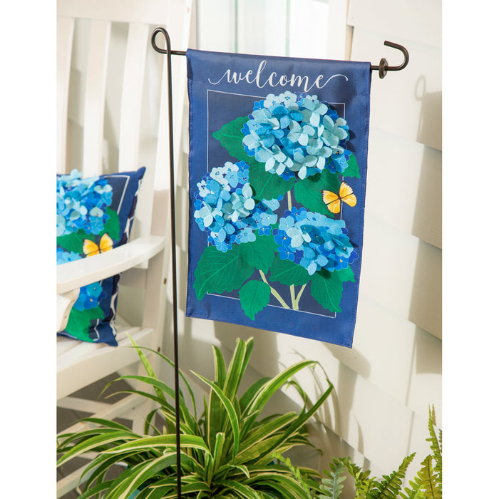 Evergreen Hydrangea Blossoms Applique Garden Flag