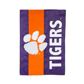 EVERGREEN CLEMSON UNIVERSITY EMBELLISH GARDEN FLAG