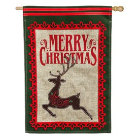 Evergreen Merry Christmas Reindeer House Flag